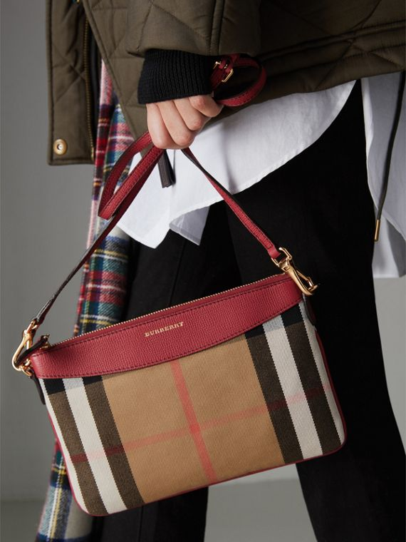 House Check and Leather Clutch Bag in Military Red - Women | Burberry United Kingdom - cell image 3