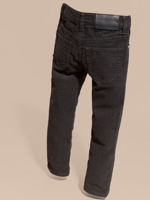 Stretch Corduroy Jeans in Black | Burberry Singapore - cell image 3