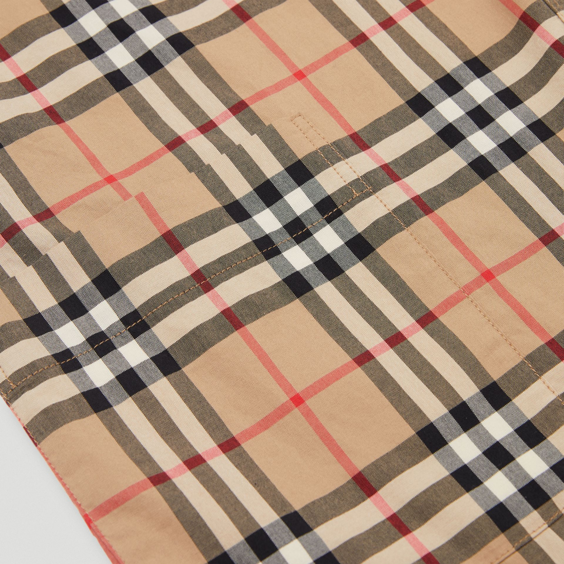 Gathered Sleeve Vintage Check Cotton Dress in Archive Beige | Burberry Singapore - gallery image 1