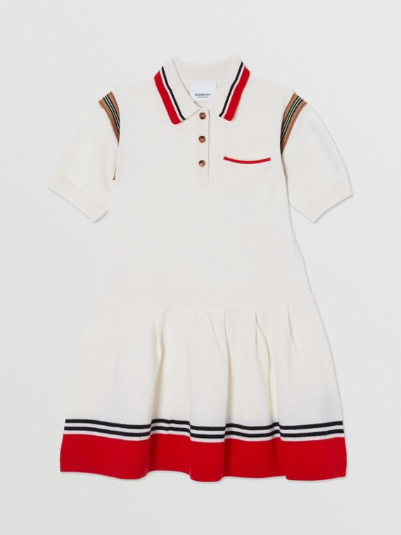 Striped Cotton Merino Wool Polo Shirt Dress in White
