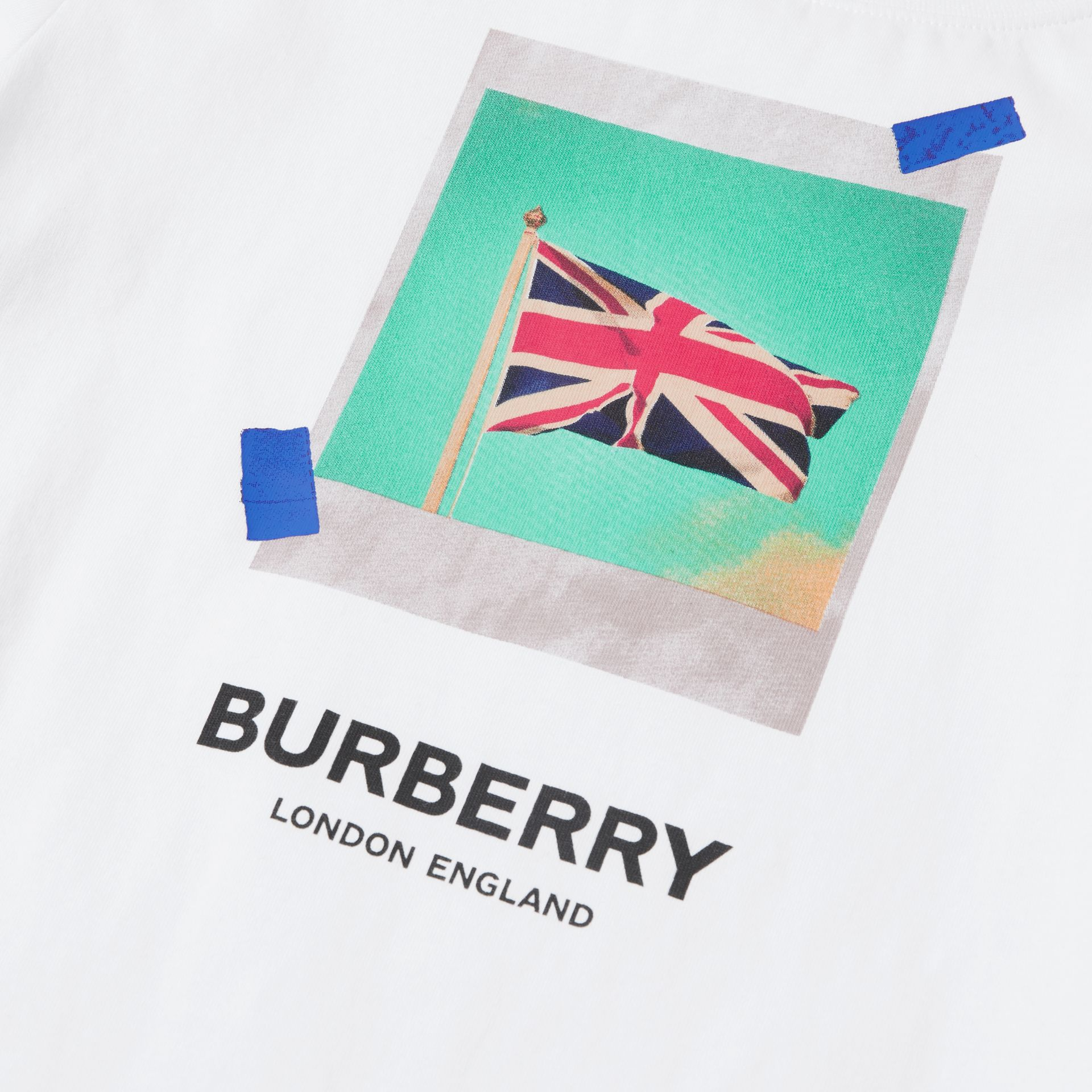 Union Jack Print Cotton T-shirt in White | Burberry - gallery image 1