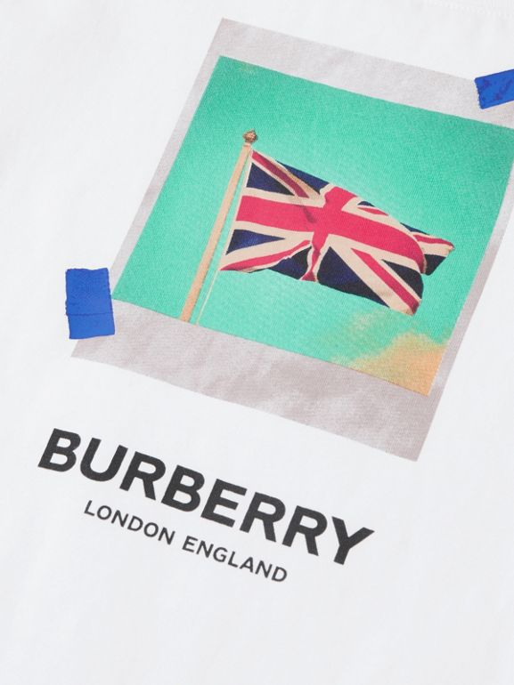 Union Jack Print Cotton T-shirt in White | Burberry - cell image 1