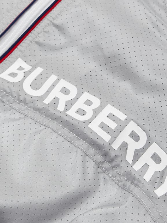 Logo Print Perforated Hooded Jacket in Silver - Children | Burberry - cell image 1