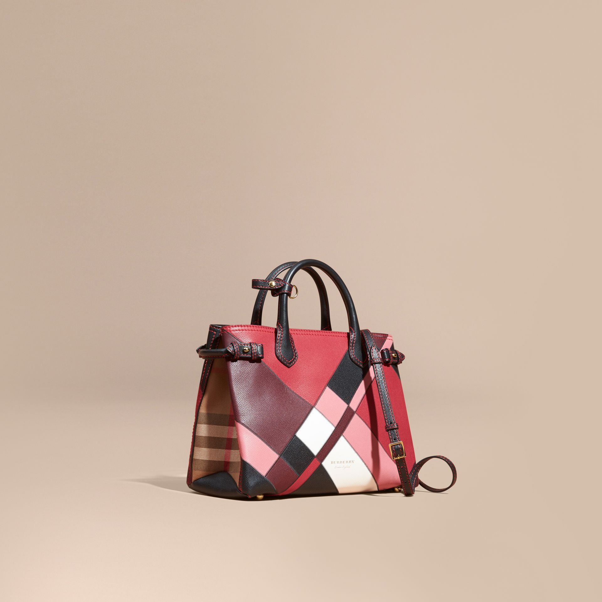 The Medium Banner in Colour Block Leather in Pink - Women | Burberry - gallery image 1