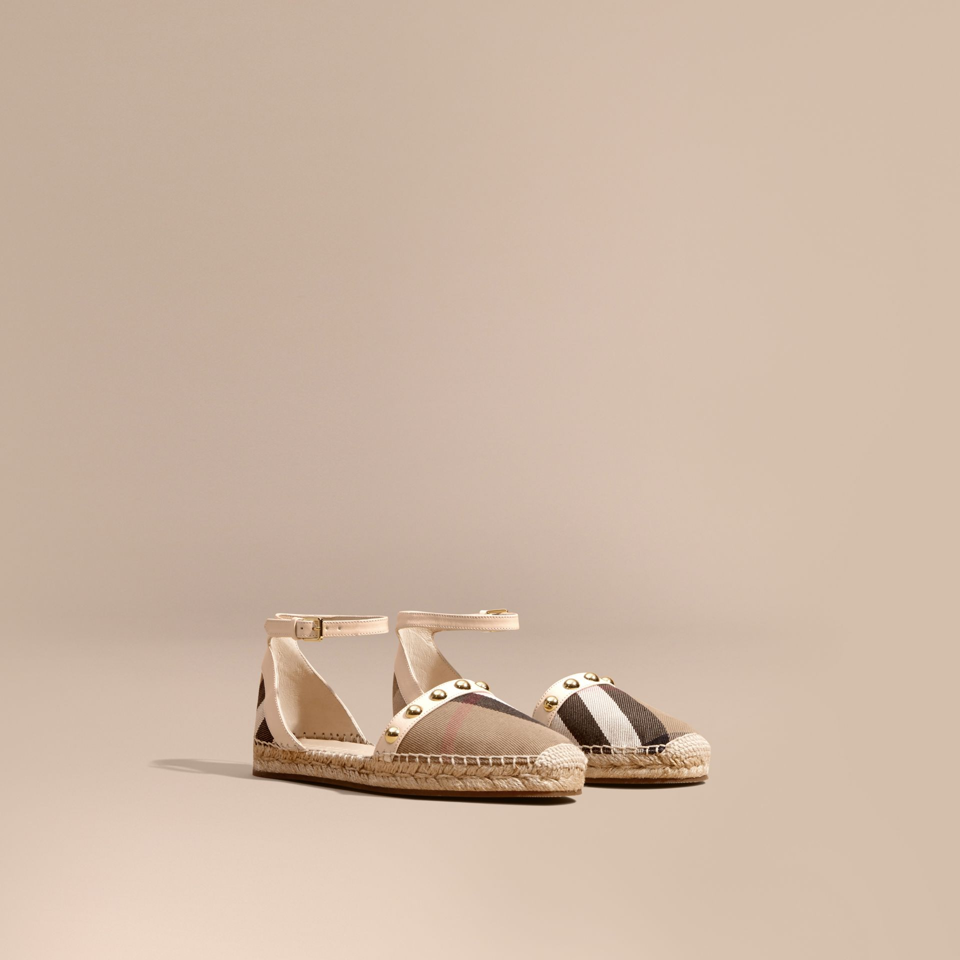 Cream Studded Leather and House Check Espadrille Sandals Cream - gallery image 1