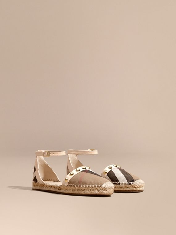 Studded Leather and House Check Espadrille Sandals Cream