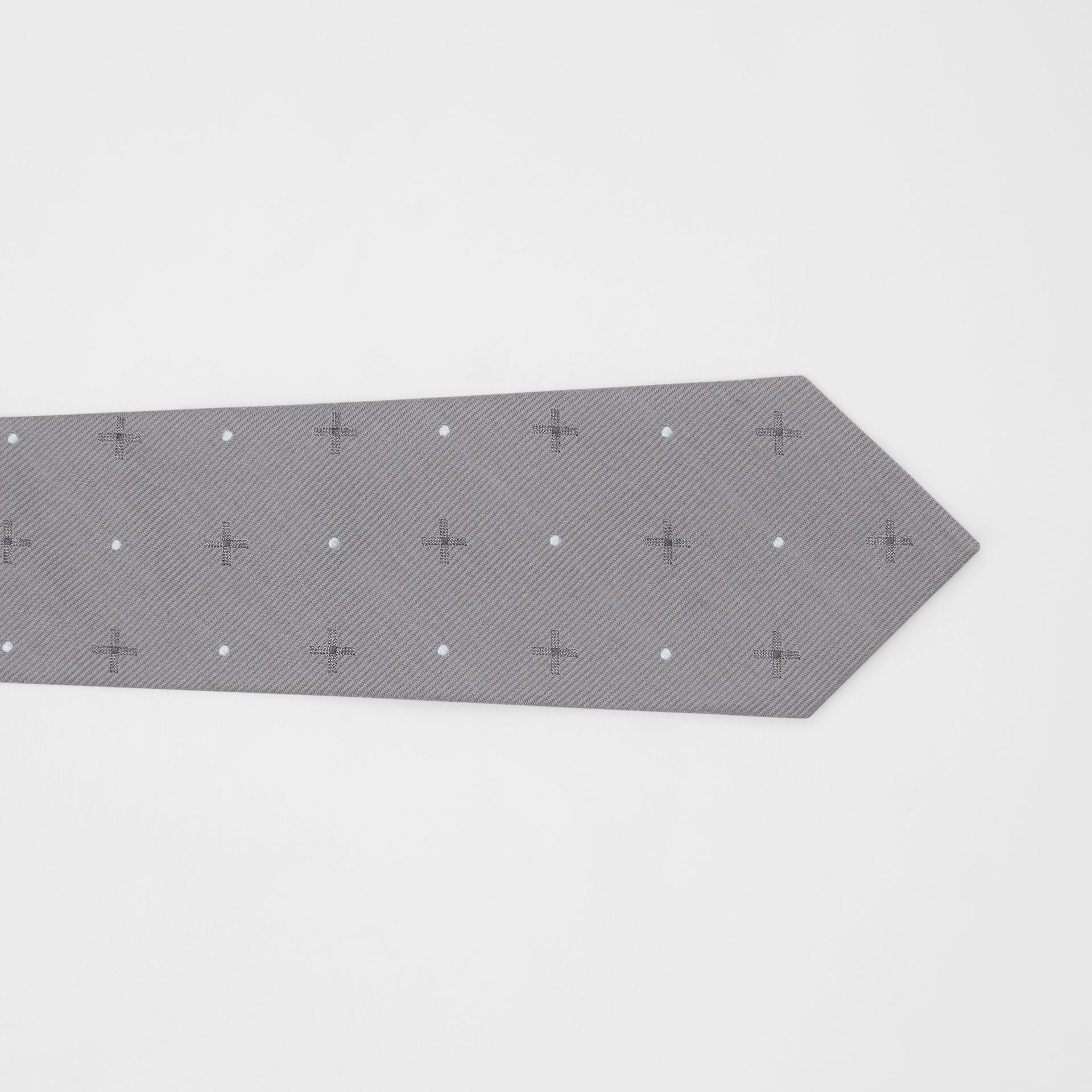 Classic Cut Graphic Silk Wool Jacquard Tie in Mid Grey - Men | Burberry United States - gallery image 1