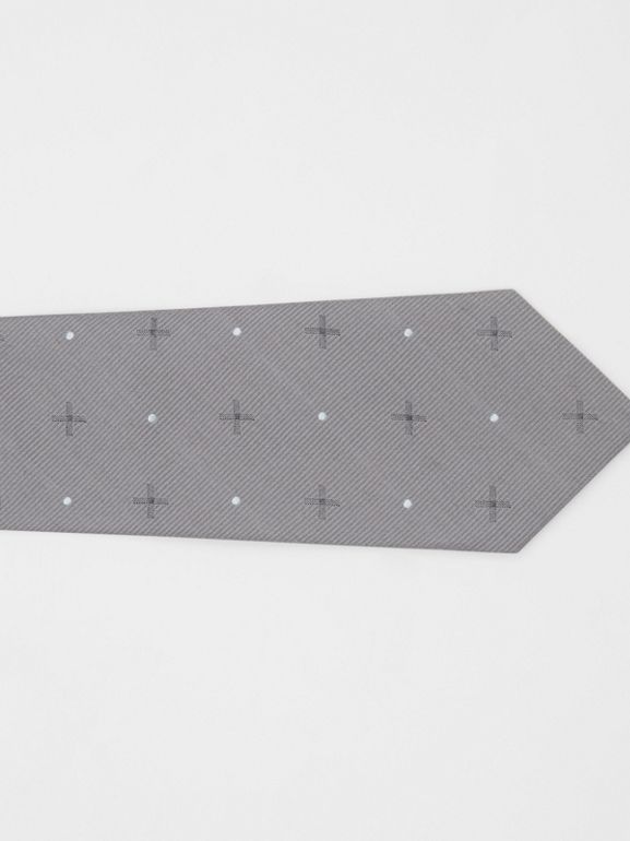 Classic Cut Graphic Silk Wool Jacquard Tie in Mid Grey - Men | Burberry United States - cell image 1