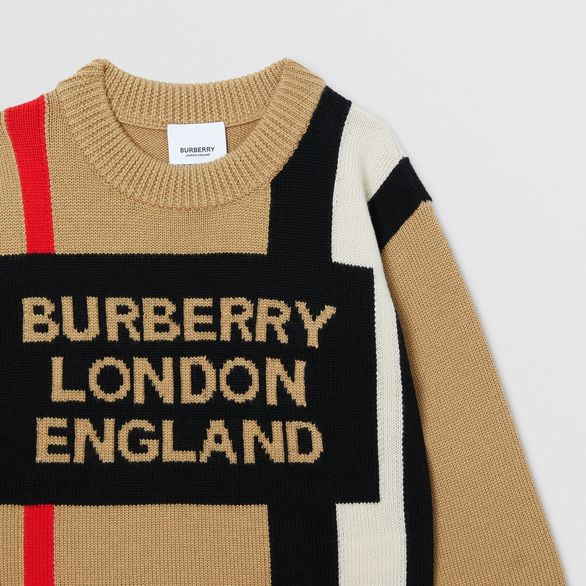 Logo and Icon Stripe Intarsia Wool Sweater in Archive Beige | Burberry - gallery image 5
