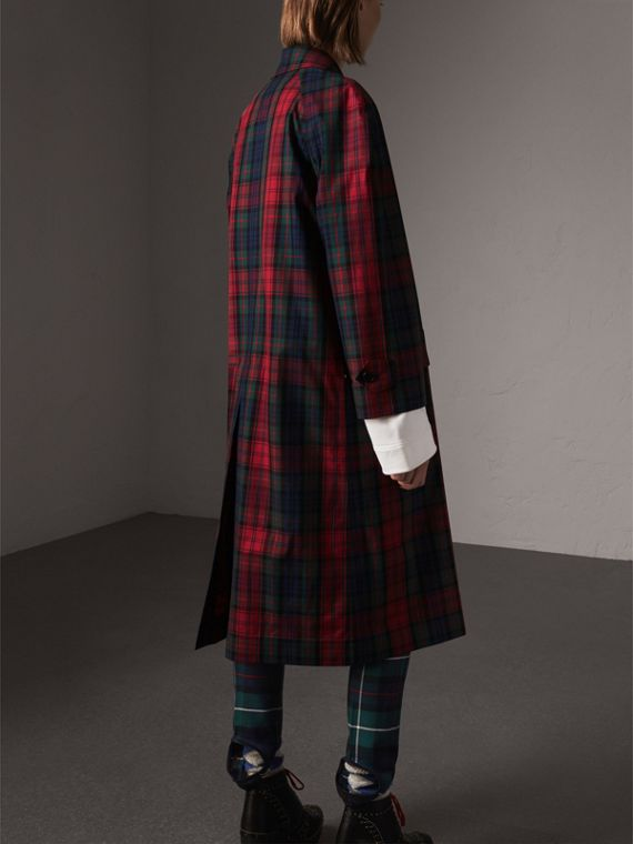 Tartan Cotton Gabardine Car Coat in Bright Red - Women | Burberry - cell image 2