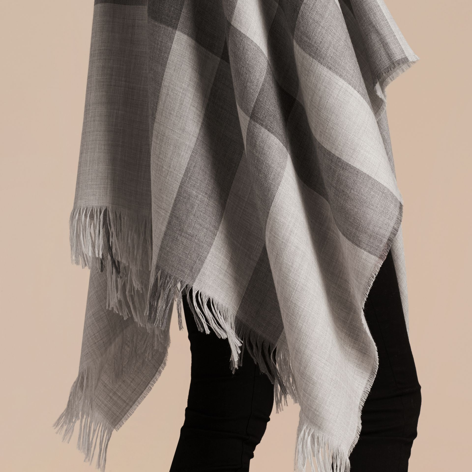 Pale grey Lightweight Check Cashmere Poncho Pale Grey - gallery image 5