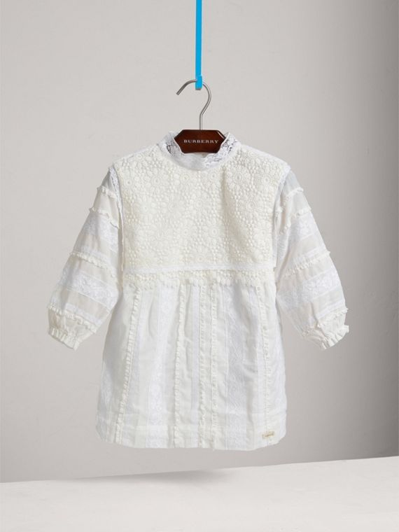 English Lace Detail Cotton High-neck Dress in Natural White