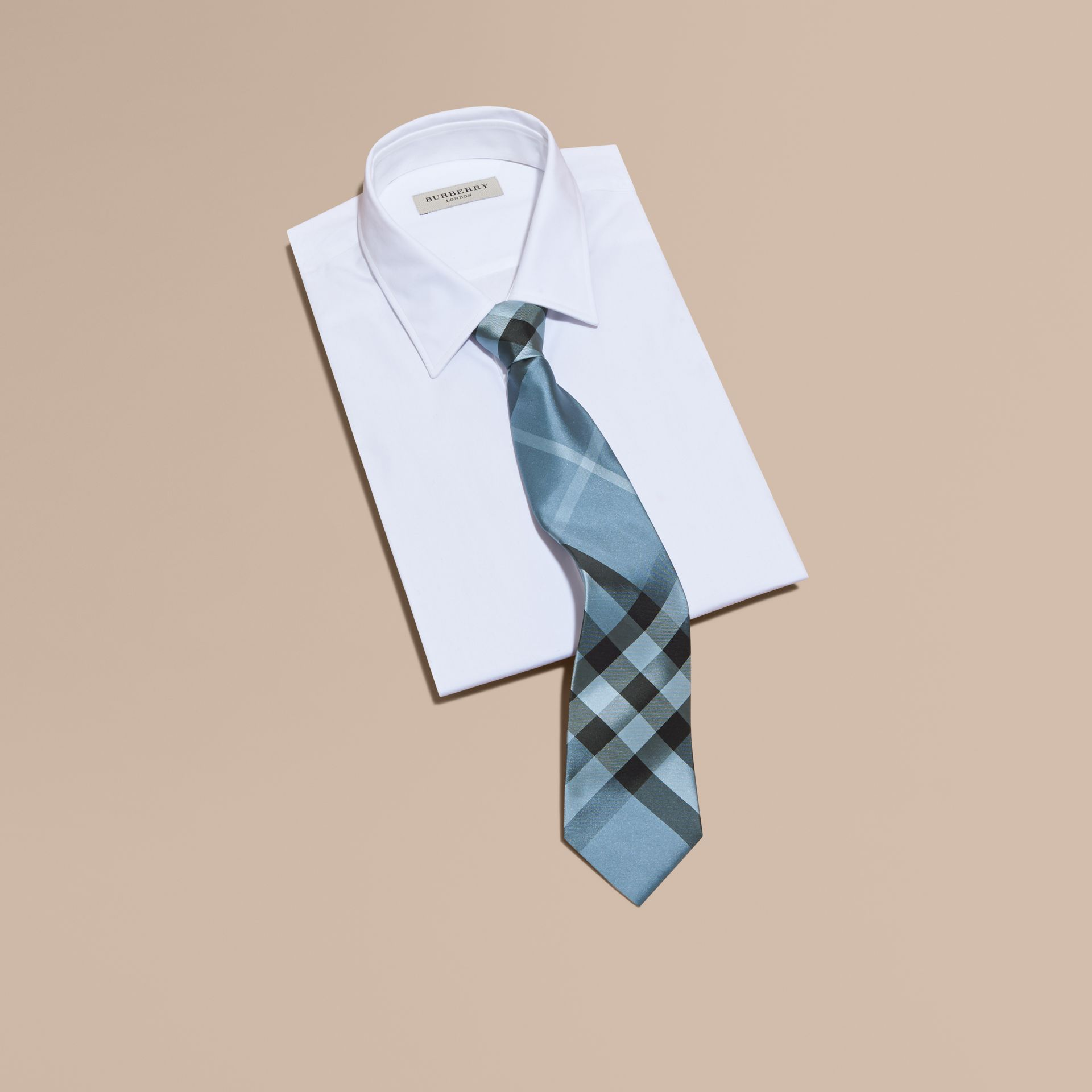 Classic Cut Check Silk Tie in Light Blue - Men | Burberry - gallery image 3