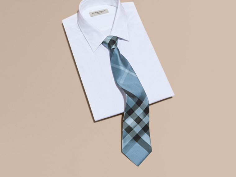 Classic Cut Check Silk Tie in Light Blue - Men | Burberry - cell image 2