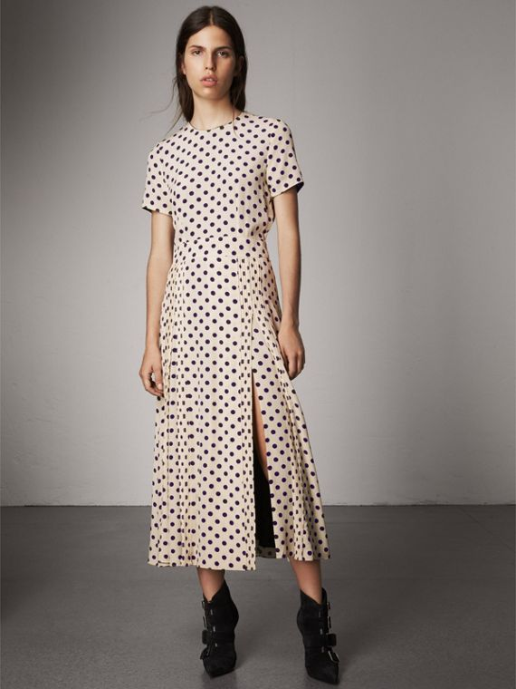 Polka-dot Silk Dress in Navy