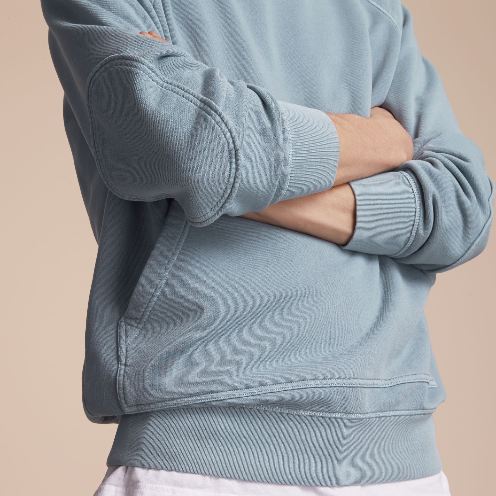 Unisex Pigment-dyed Cotton Oversize Sweatshirt in Dusty Blue - Men | Burberry - gallery image 5