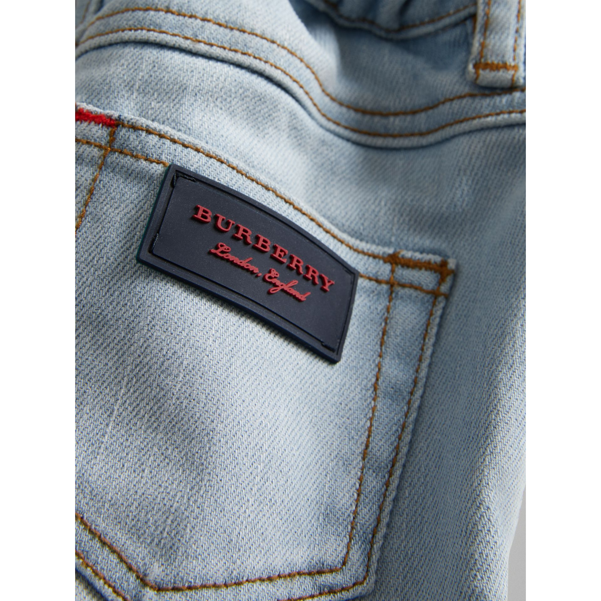Relaxed Fit Stretch Jeans in Light Blue - Children | Burberry - gallery image 1