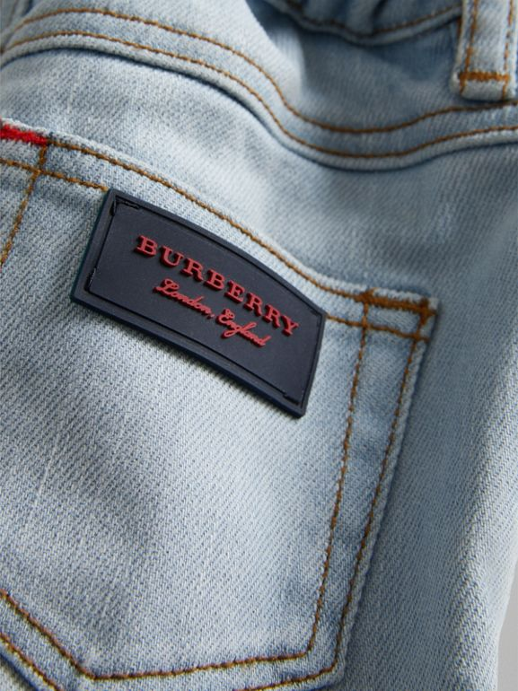 Relaxed Fit Stretch Jeans in Light Blue - Children | Burberry - cell image 1