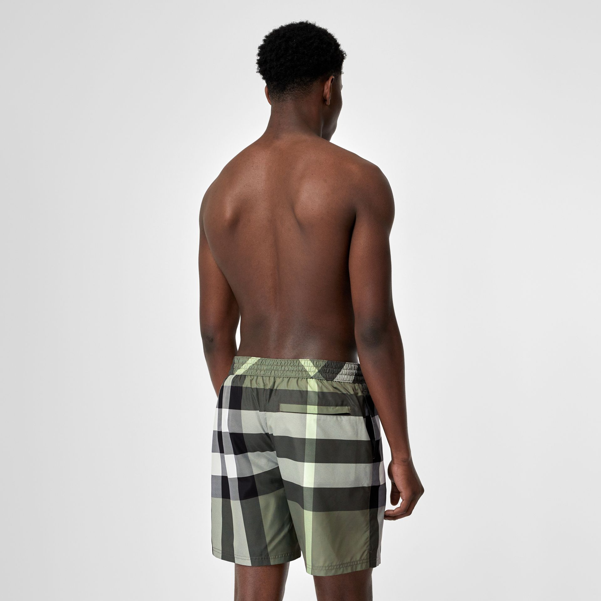 Check Drawcord Swim Shorts in Chalk Green - Men | Burberry United Kingdom - gallery image 1
