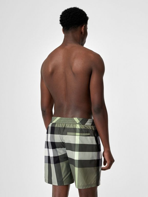 Check Drawcord Swim Shorts in Chalk Green - Men | Burberry - cell image 1