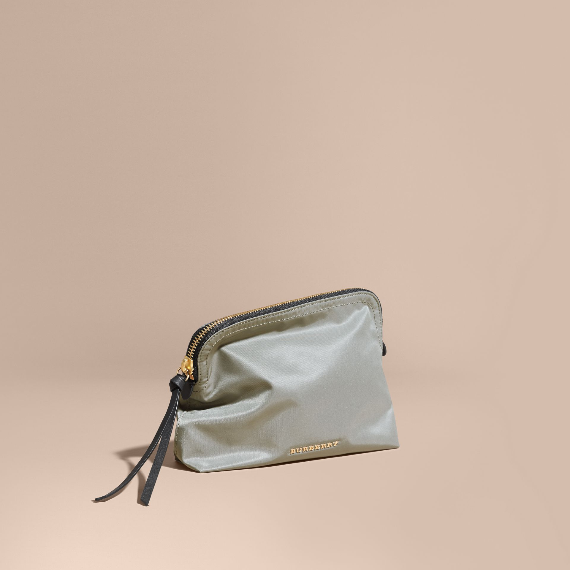 Large Zip-top Technical Nylon Pouch in Thistle Grey - gallery image 1