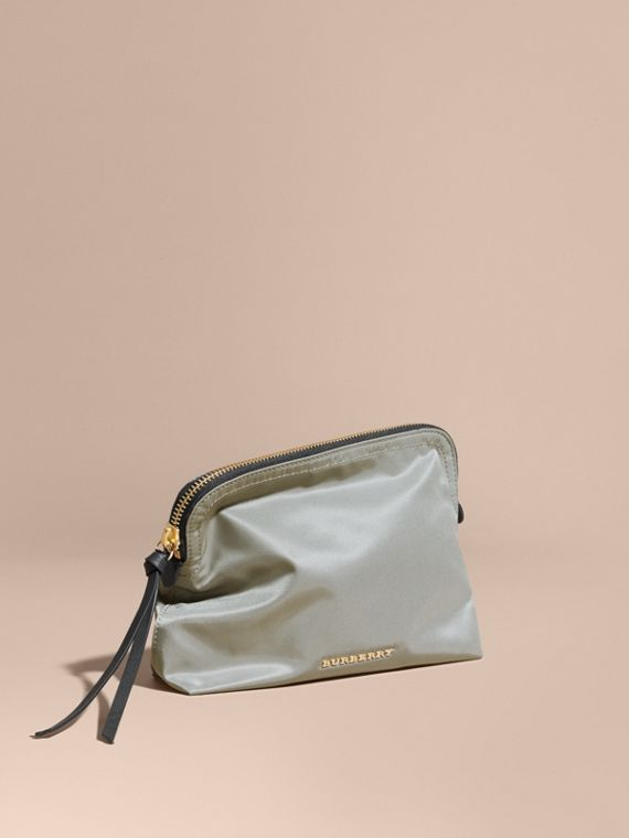 Large Zip-top Technical Nylon Pouch in Thistle Grey