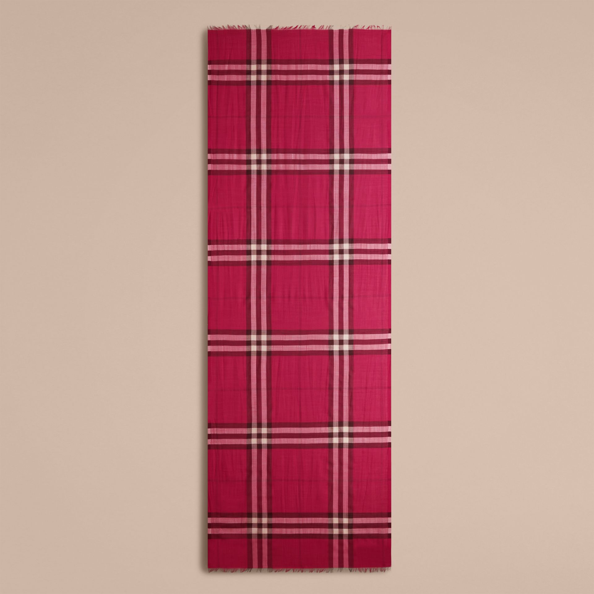 Lightweight Check Wool and Silk Scarf in Fuchsia Pink - gallery image 4