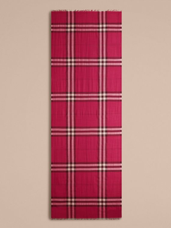 Lightweight Check Wool and Silk Scarf in Fuchsia Pink - cell image 3