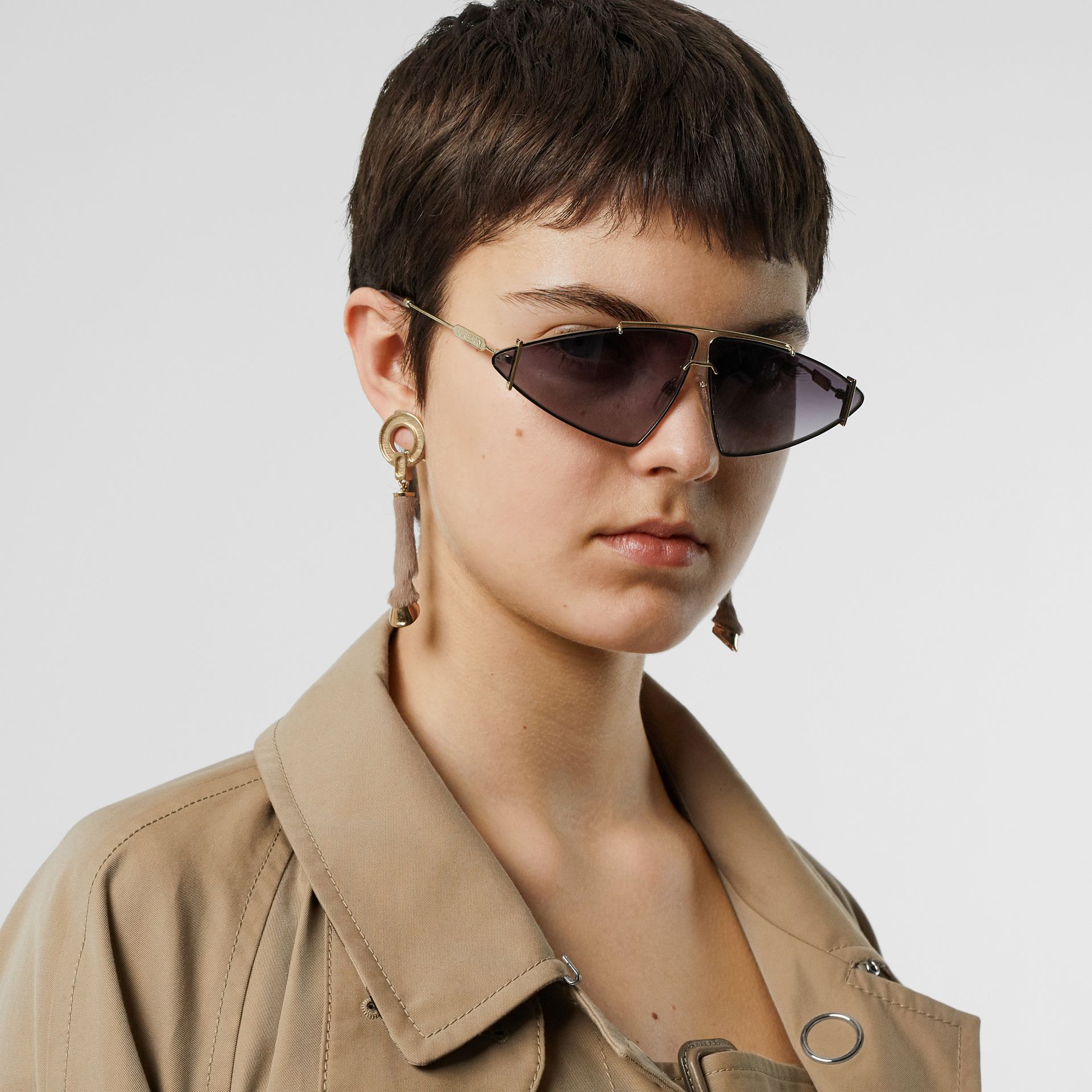 Gold-plated Triangular Frame Sunglasses in Black - Women | Burberry Singapore - gallery image 2