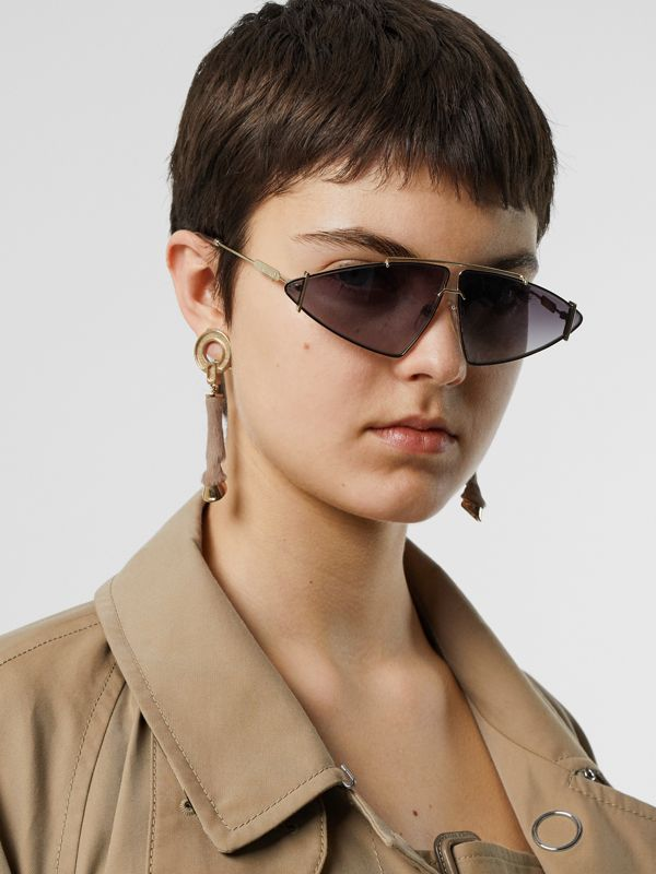 Gold-plated Triangular Frame Sunglasses in Black - Women | Burberry Singapore - cell image 2