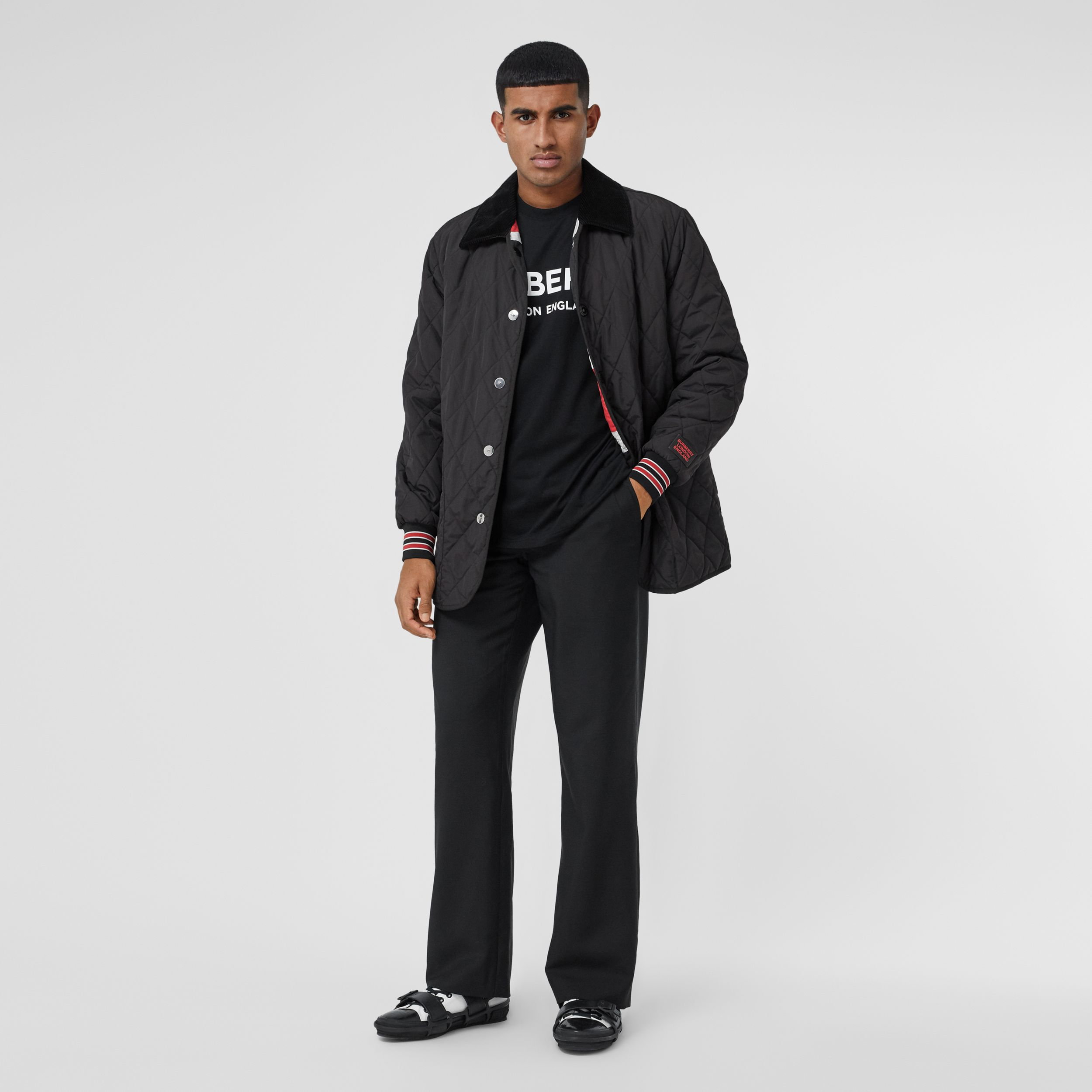 Striped Trim Diamond Quilted Barn Jacket in Black - Men | Burberry - 1