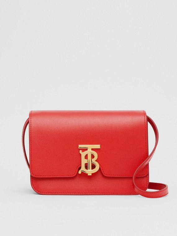 Small Leather TB Bag in Bright Red