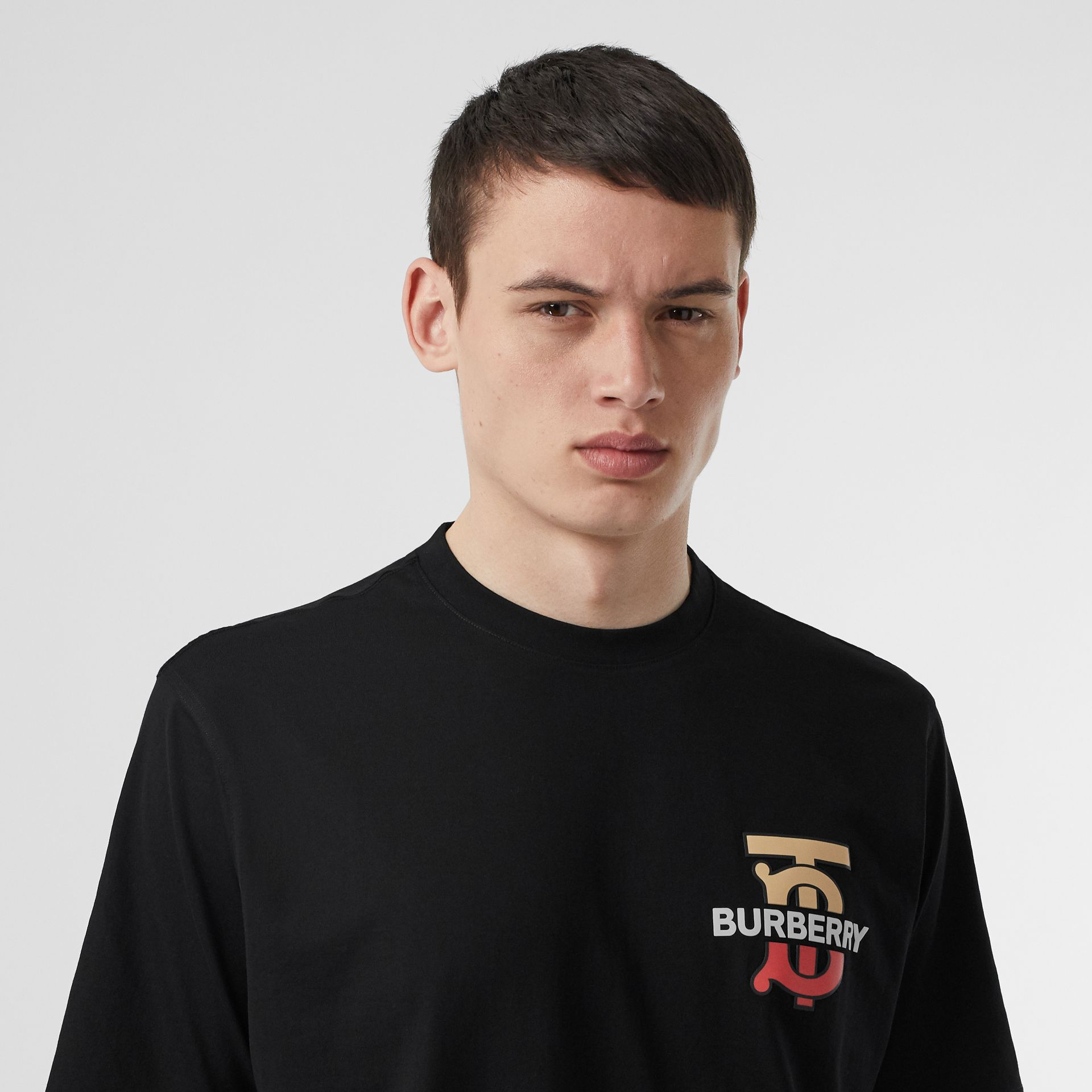 Monogram Motif Cotton T-shirt in Black - Men | Burberry - gallery image 1