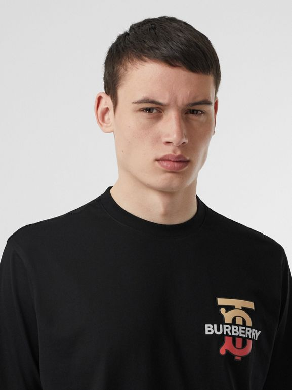 Monogram Motif Cotton Oversized T-shirt in Black | Burberry - cell image 1