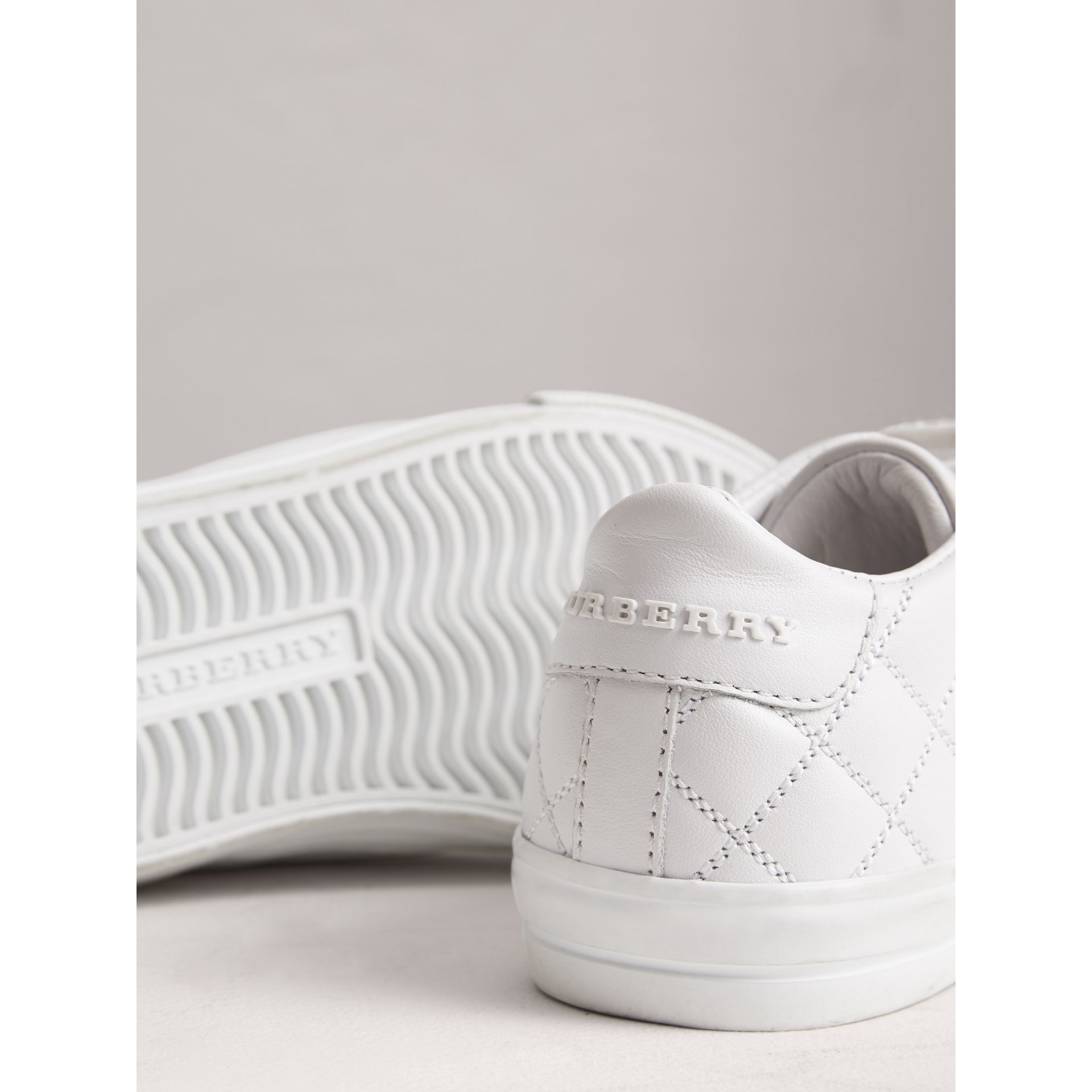 Check Detail Leather Trainers in Optic White | Burberry - gallery image 2