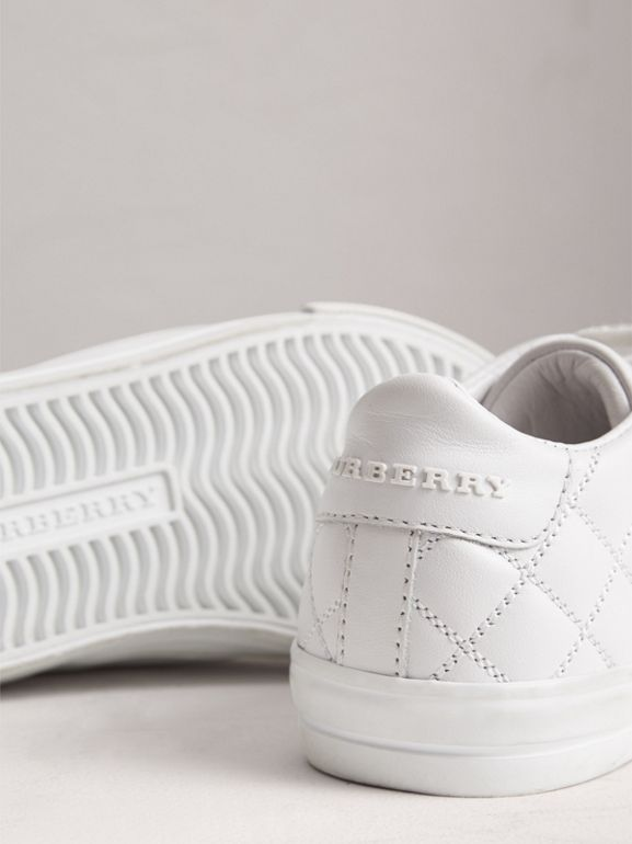 Check Detail Leather Sneakers in Optic White - Children | Burberry United Kingdom - cell image 1