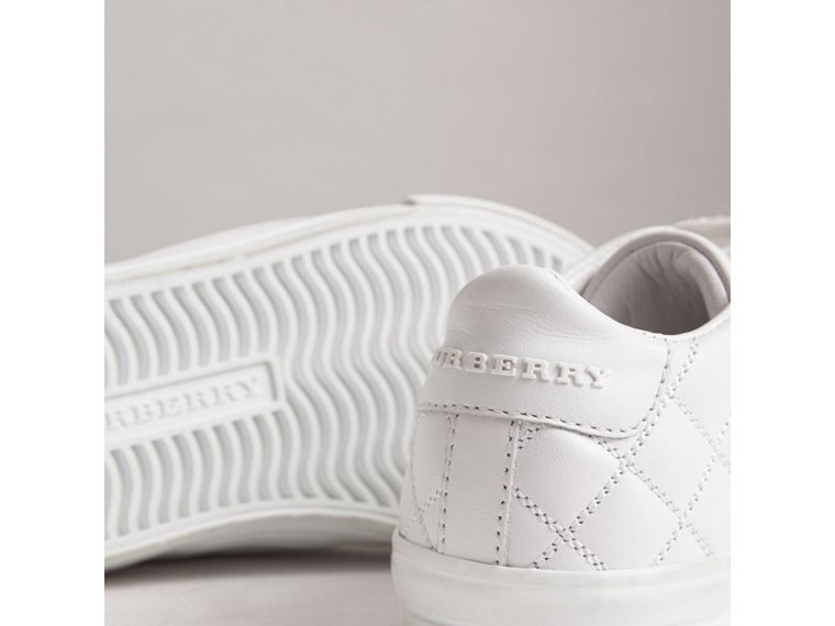 Check Detail Leather Trainers in Optic White | Burberry - cell image 1