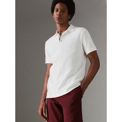 Burberry - Polo en coton avec patte de boutonnage à motif check - 5