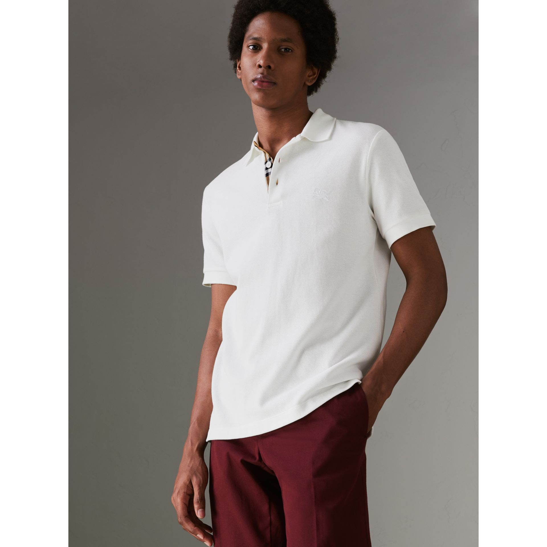 Check Placket Cotton Polo Shirt in White - Men | Burberry - gallery image 4