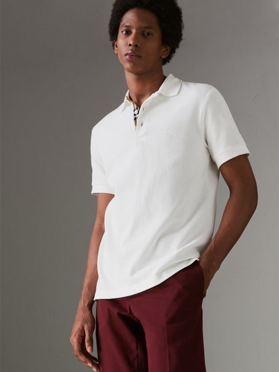 Polo en coton avec patte de boutonnage à motif check (Blanc)