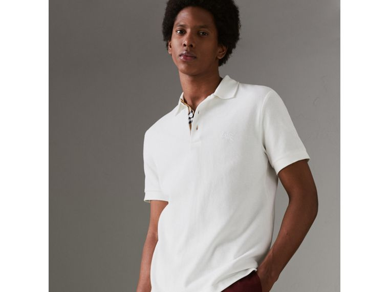 Check Placket Cotton Polo Shirt in White - Men | Burberry - cell image 4