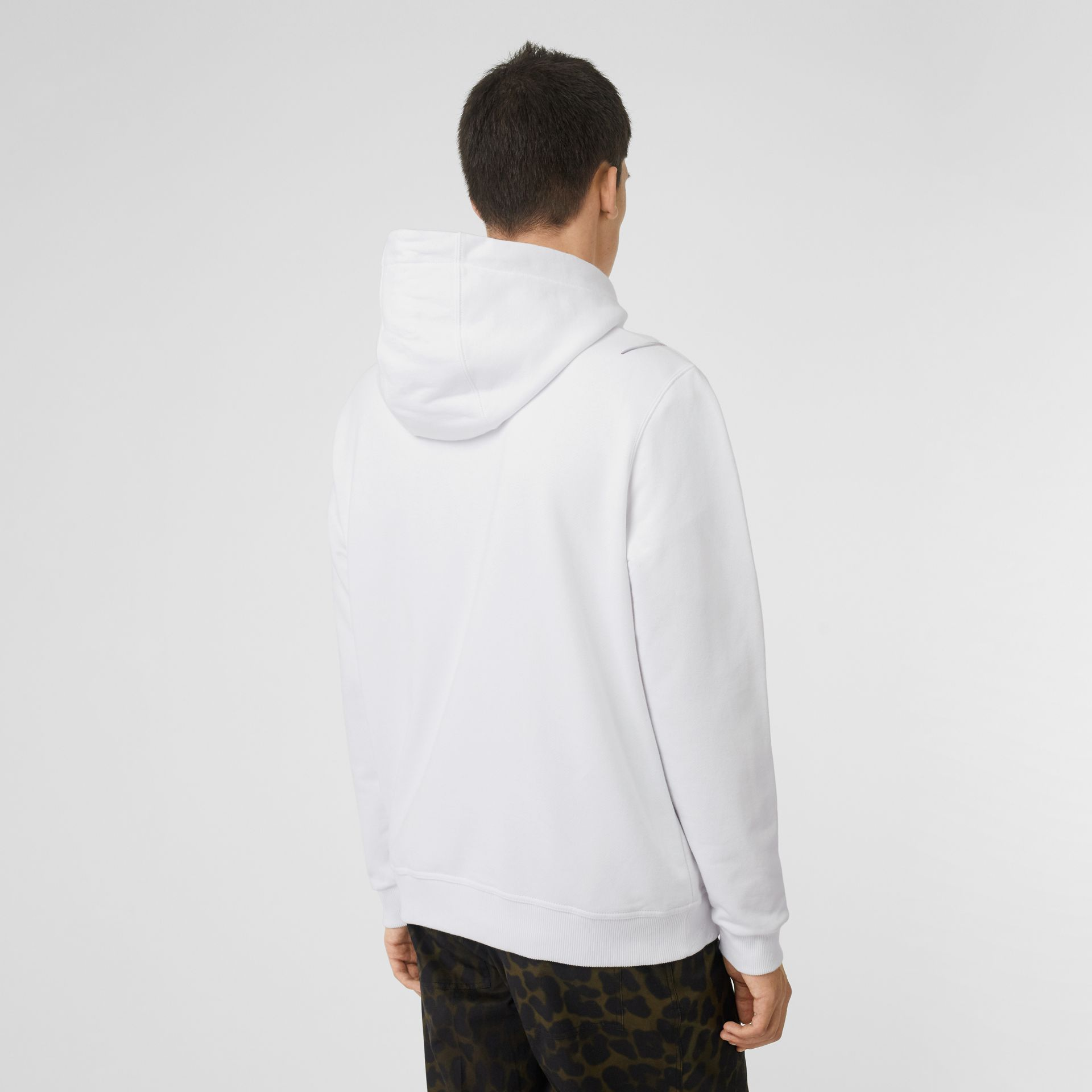 Unicorn Print Cotton Hoodie in White - Men | Burberry Australia - gallery image 2