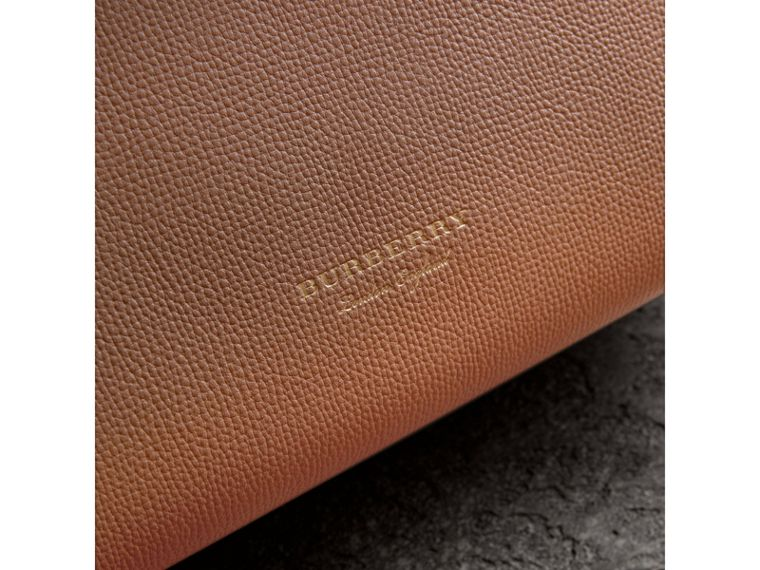 Small Grainy Leather and House Check Tote Bag in Dark Sand - Women | Burberry - cell image 1