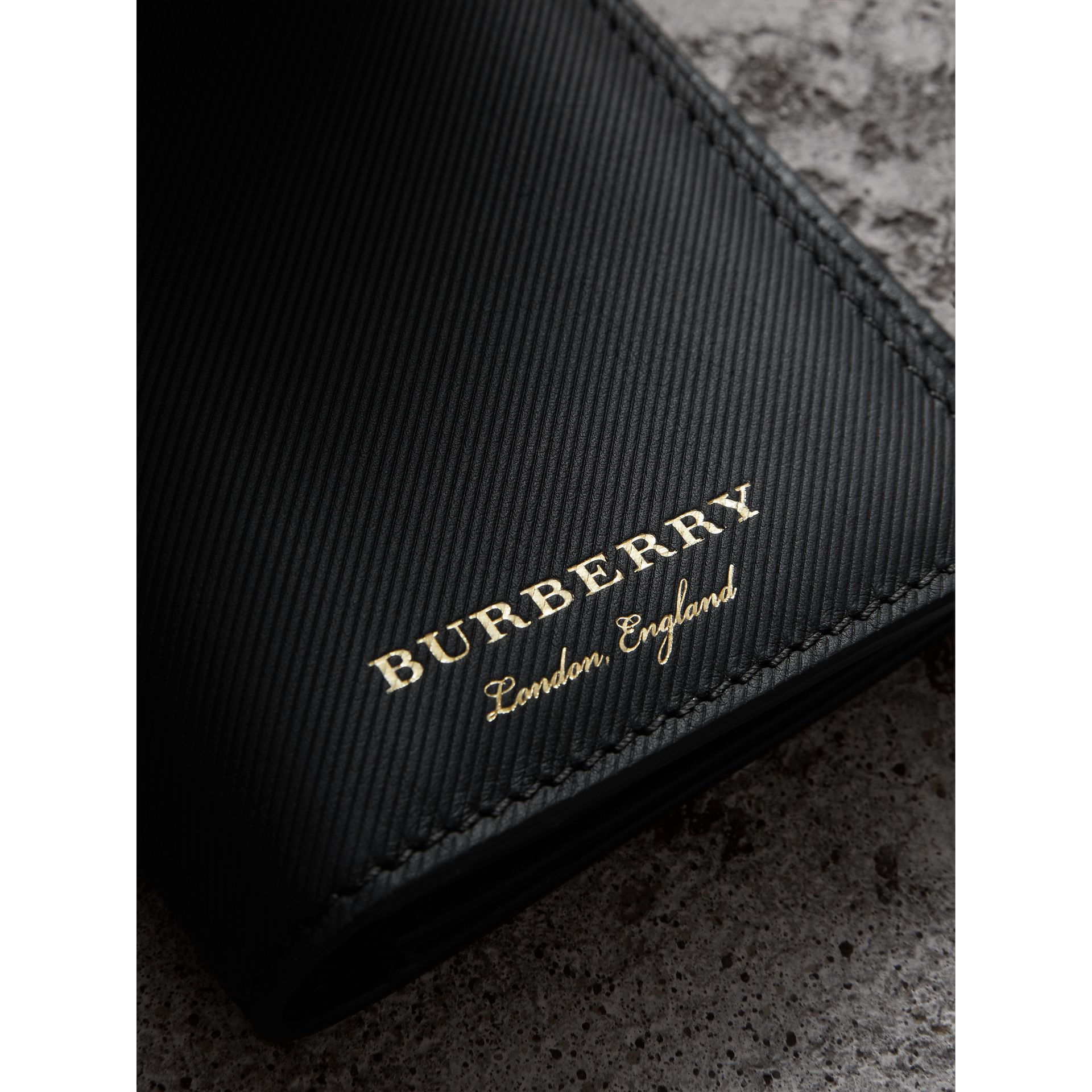 Trench Leather Continental Wallet in Black - Men | Burberry - gallery image 1