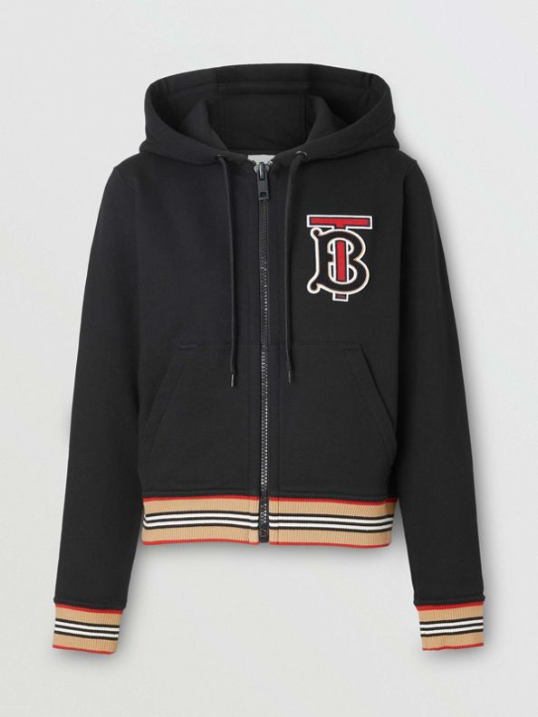 Icon Stripe Detail Monogram Motif Hooded Top in Black