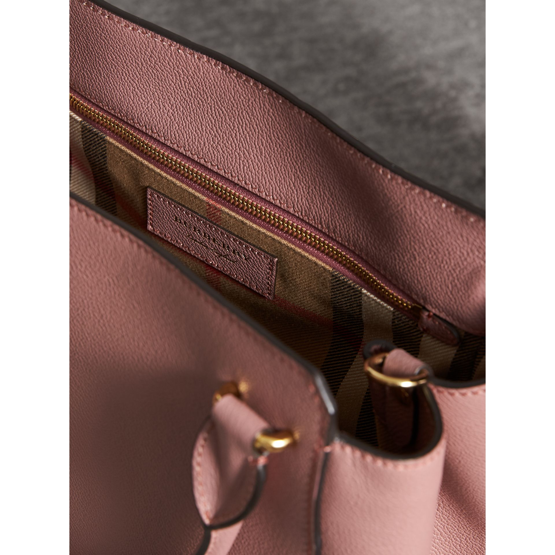 The Medium Buckle Tote in Grainy Leather in Dusty Pink - Women | Burberry - gallery image 6
