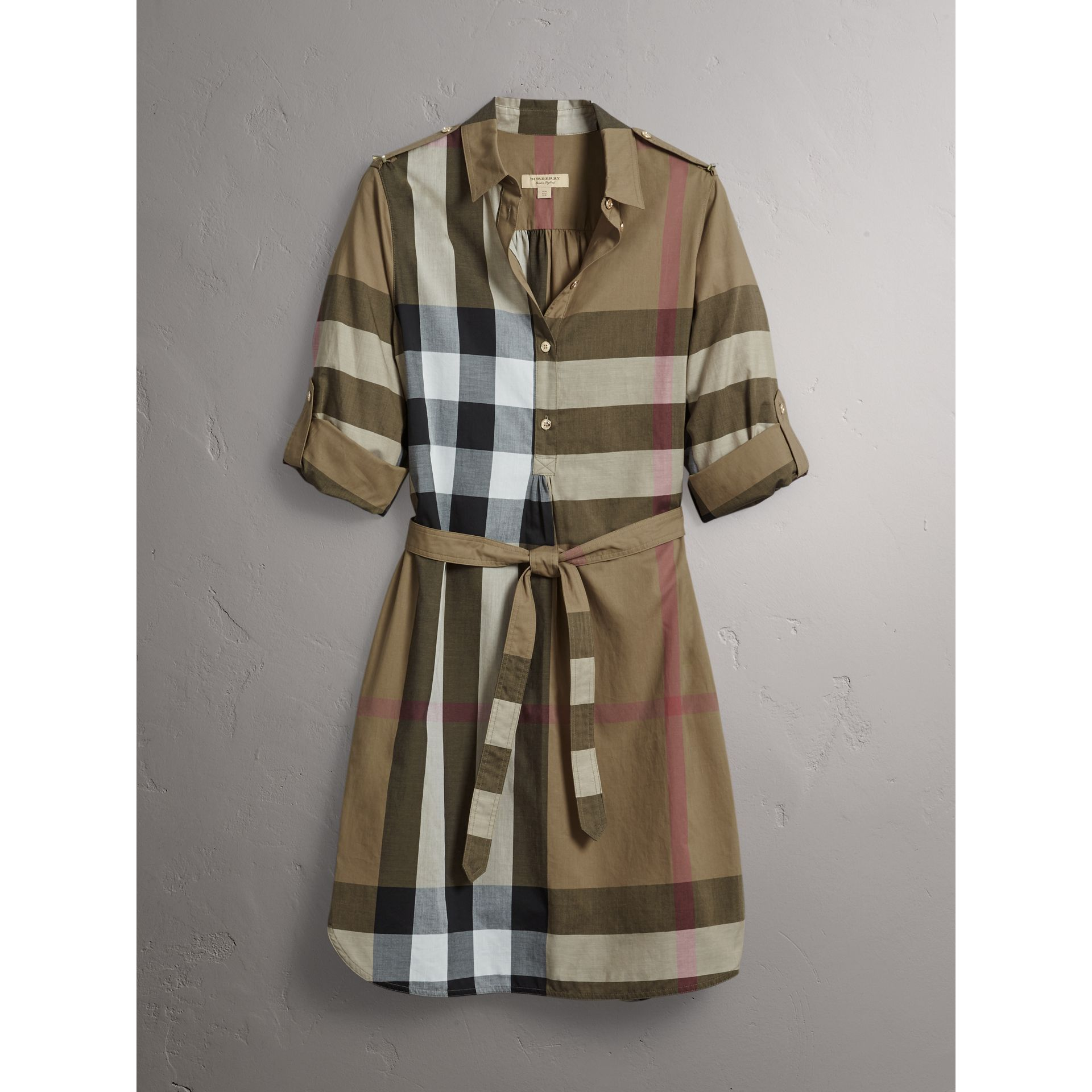 Check Cotton Shirt Dress in Taupe Brown - Women | Burberry Singapore - gallery image 4
