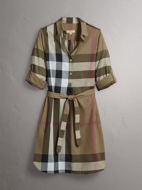 Check Cotton Shirt Dress in Taupe Brown - Women | Burberry Singapore - cell image 3
