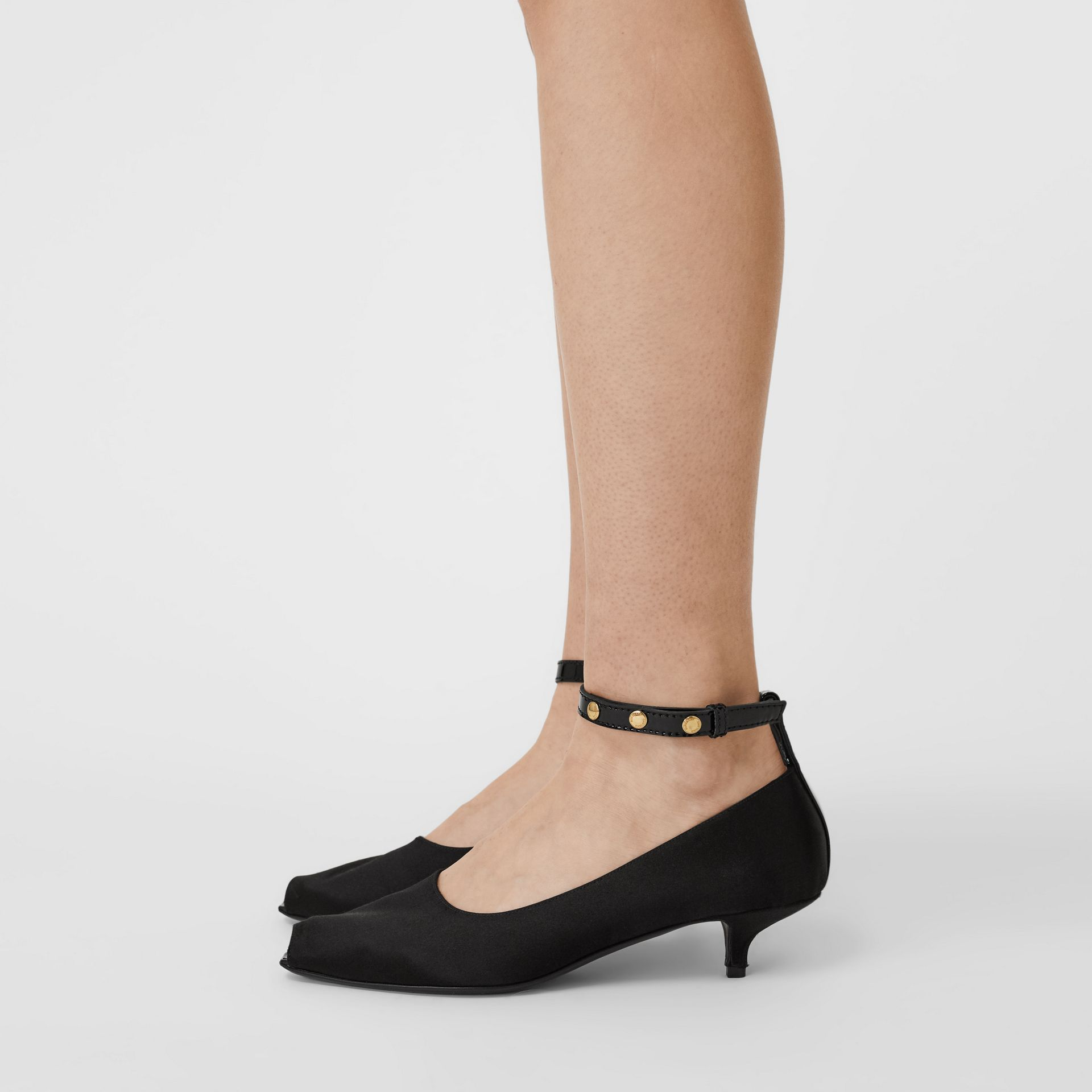 Satin Peep-toe Kitten-heel Pumps in Black - Women | Burberry - gallery image 2
