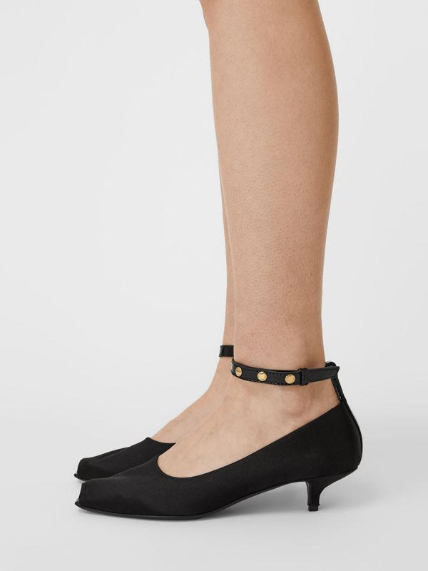 Satin Peep-toe Kitten-heel Pumps in Black - Women | Burberry - cell image 2